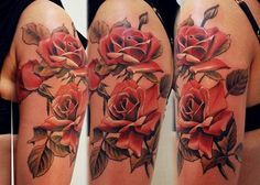 Beautiful work in these Roses by Andrei Tattoomaster