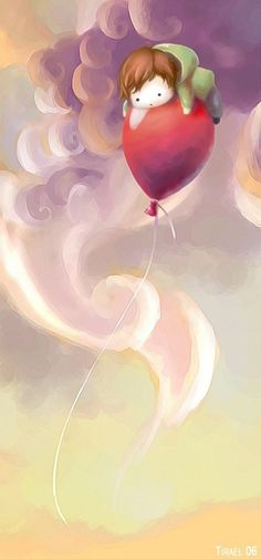 .Whimsical art. Child floating on a balloon up to the sky :) Sooo cute!
