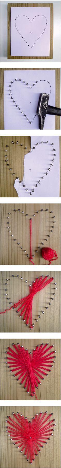 DIY : valentine's string art -  String Art Heart - cœur en fil tendu - tableau de fil - © solange abaziou - http://www.soyou.fr/