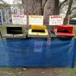 """Signage most important for maximum benefit. Note the red top bins sign """"Landfill"""" see more http://www.climatewave.com/events/greening-earth-frequency-festival/"""
