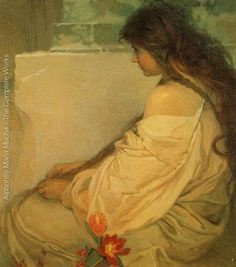 Girl with Loose Hair and Tulips by Alphonse Mucha