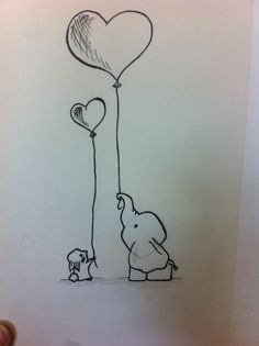A small bunny and elephant holding balloons :) Copied it from a drawing I saw.