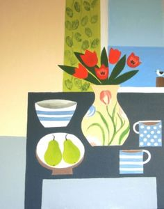 Still Life with Five Red Tulips by Jan Rippingham