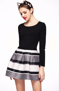Black Long Sleeve PU Trims Striped Flare Dress