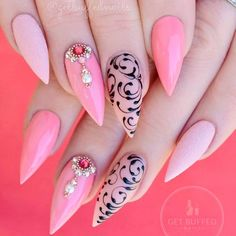 Sexuality Acrylic Stiletto Nails In 2019 Summer Sexuality Acrylic Stiletto Nails In 2019 Summer - Nail Art Connect Trendy Nail Art, Cool Nail Art, Nail Swag, Nails Design With Rhinestones, Coral Nails With Design, Pointy Nails, Manicure Y Pedicure, Beautiful Nail Art, Nails Inspiration