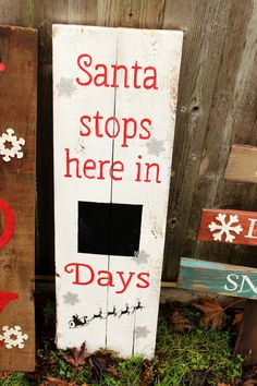 Rustic  Large Santa Chalkboard Countdown reclaimed pallet wood sign Christmas advent calander  distressed stops here in days on Etsy, $35.00