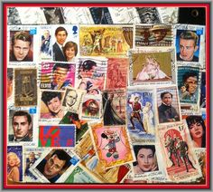 Hollywood Movie Clapboard (Back) with Postage Stamp Decoupage of Movie Stars -- Stampcoupage