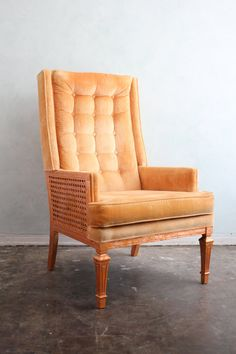 What a dream chair...   Tangerine and copper leaf retro arm chair by freshvintagemiami, $900.00