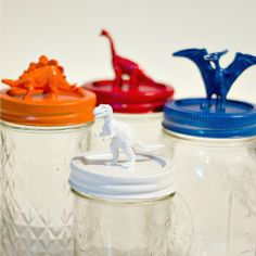 Nice storage for Big-Kid items: We always had push pins, paperclips, change, golf tees, you name it, the boys had it! Dinosaur Topped Mason Jars - It All Started With Paint