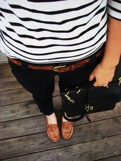stripes + skinny jeans + loafers + bag