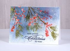I am happy to be sharing this card over on The Foiled Fox blog today. I used a combination of distress markers to colour the berry branches first then, once they were dry, I clear embossed o…