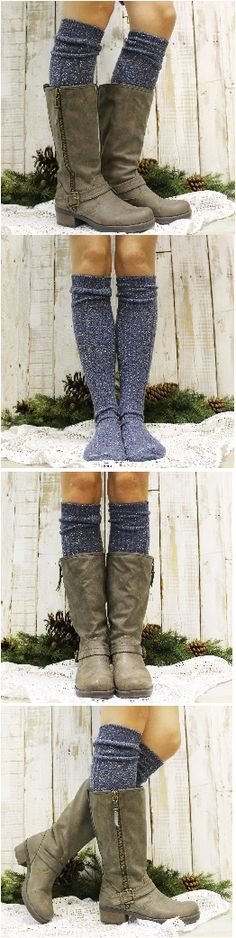 "The perfect cure for the winter blues. Our blue tweed Made in USA  basic tall sock this is a ""MUST HAVE"" for your boots this season!  Our cuddly vintage blues tweed slubby yarn cozy cotton tall knee sock is lovely for your favorite boots. This boot sock can be worn just under your knees,or over.. Your boots will fall in love with these socks!"
