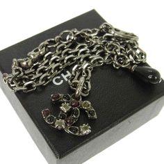 Authentic CHANEL CC Logos Silver Chain Pendant Necklace 02A V08089 #Chanel #Pendant