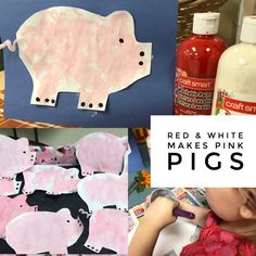 Let's mix red and white to make pink. Paint a pig with wiggly tail.