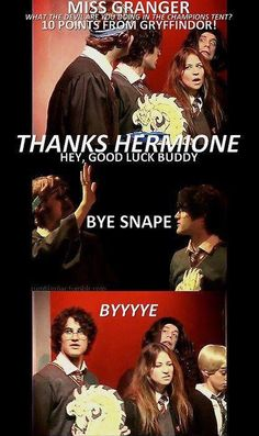 Haha! I love how Hermione gets the points deducted from the house and Snape just doesn't care that Ron is there. XD