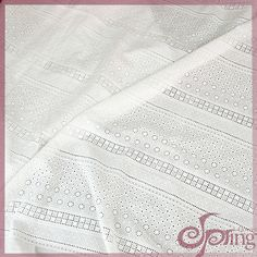 White lovely embroidery cotton lace fabric with holes