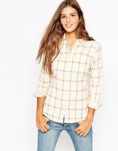 ASOS Cream Check Cord Shirt