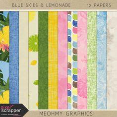 Quality DigiScrap Freebies: Blue Skies & Lemonade paper pack freebie from Me Oh My