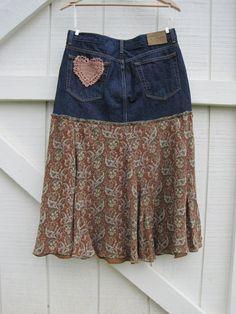 Boho cowgirl skirt, Prairie skirt denim, heart patch skirt,cowgirl skirt, funky romantic skirt medium upcycled medium Ready to ship