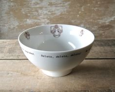 Doctor Who Cyberman Delete, Delete, Delete, Cereal Bowl or Dish by SecondChanceCeramics.  I went to this etsy site because of the Halloween and Holiday ware and what did I find?!
