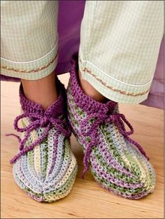 Maggie's Crochet · Hooked on Crochet!  #crochet #pattern #slippers #frilly #tasseled #cute #colorful #warm
