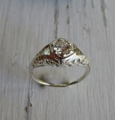 Custom Art Deco Solitaire Engagement Ring 14kt by AustinModern