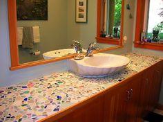 custom sea glass sink at Everything Coastal