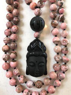Rhodonite and Obsidian Mala/Prayer Beads by ManiMantraMala on Etsy