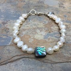 Pearl and Abalone Bracelet, Beach Bracelet, Summer Bracelet, Sand dollar Charm, choose your size.