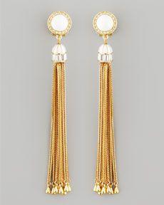 Rachel Zoe Tassel Post Earrings, White