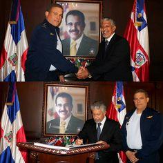 El Mayor General Piloto Luis Napoleón Payán Díaz Comandante General de la Fuerza Aérea de República Dominicana recibió en su Despacho la visita de cortesía del señor Juan Frías Gobernador de la Provincia Santo Domingo donde trataron temas inherentes a la provincia.