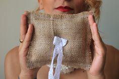 burlap rustic lace ring bearer /  rustic ring by cornerofthegarden, $11.00