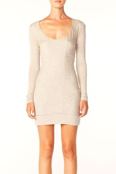 paneled t-shirt dress in oatmeal and heather grey