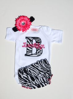 Monogram Baby Girl Clothes Newborn Girl Take Home Outfit Personalized Baby Girl Outfit One-Piece Zebra Diaper Cover Beanie Hat Gift Set via Etsy
