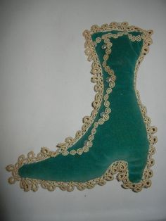 Vintage Tatting and Button  Boot Shaped Pin Cushion ~Velvet and Tatting ~
