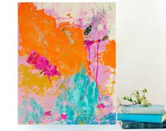 Abstract Painting Blue and Orange art - Original Painting on canvas 16x20