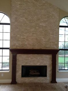 Durango Cream Travertine Split Face Fireplace - FAVORITE