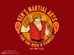 Martial Arts For The Rich And Famous T-Shirt - http://teecraze.com/martial-arts-rich-famous-t-shirt/ -  Designed by pigboom    #tshirt #tee #art #fashion #TCRZ #clothing #apparel #StreetFighter