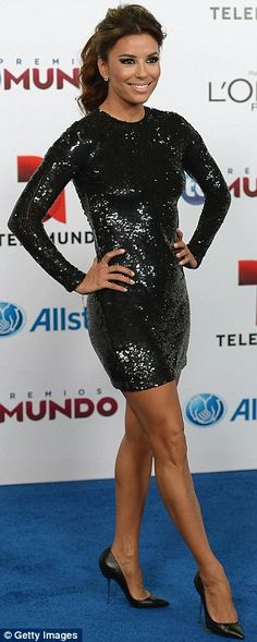 Eva Longoria gorgeous legs in a short backless gown and spiked Louboutin heels