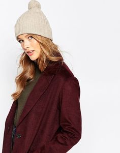 $117, Johnstons Cashmere Chunky Bobble Beanie. Sold by Asos. Click for more info: https://lookastic.com/women/shop_items/343683/redirect