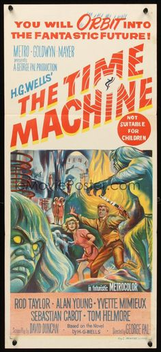 TIME MACHINE Aust daybill '60 H.G. Wells, George Pal, great stone litho sci-fi artwork!