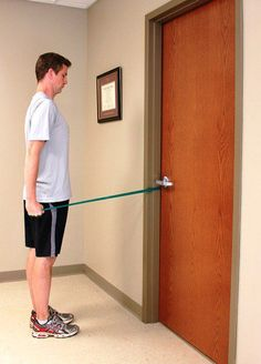 You can use a resistance band to strengthen your rotator cuff.