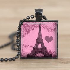 25mm pink eifle tower paris black square pendant by Aleareashop, $7.95