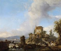 Wouwerman, Philips - landscape with the bridge, 1650-1668