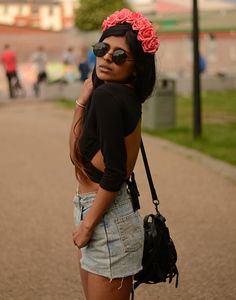 Top it off with a coral pink flower crown.