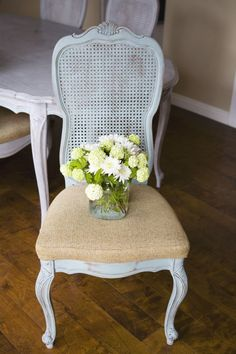 Cane Back Chair Painted Annie Sloan Duck Egg With Flower Vase · Dining Chair  RedoDining Room ...