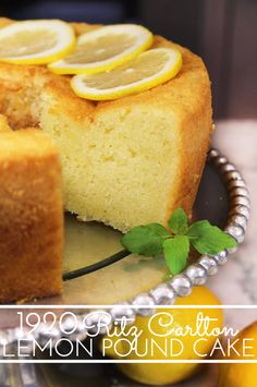 1920 Famous Ritz Carlton Lemon Pound Cake Recipe is the one for you! This dense, old-fashioned buttery lemon pound cake was a favorite dessert at the Ritz Carlton in the and it's still popular today. Lemon Desserts, Lemon Recipes, Just Desserts, Delicious Desserts, Dessert Recipes, Lemon Cakes, Strawberry Desserts, Angel Food Cake Pan, Pound Cake Recipes
