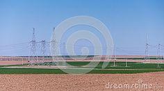 Royalty Free Stock Images: farm crop field power lines landscape various colors high voltage electric agricultural. Crop Field, High Voltage, Electric Power, Agriculture, Landscapes, Royalty, Colors, Image, Paisajes