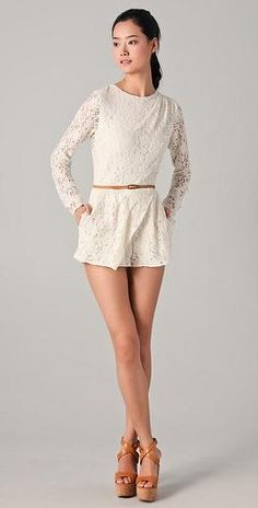 LACE ROMPER WITH BROWN BELT. LOVE EVERYTHING ABOUT THIS LOOK.