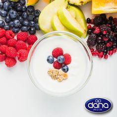 DANAYO fruit and yogurt mixes in four flavors. Fruit Salad, Acai Bowl, Yogurt, Dairy, Nutrition, Breakfast, Food, Hoods, Meals